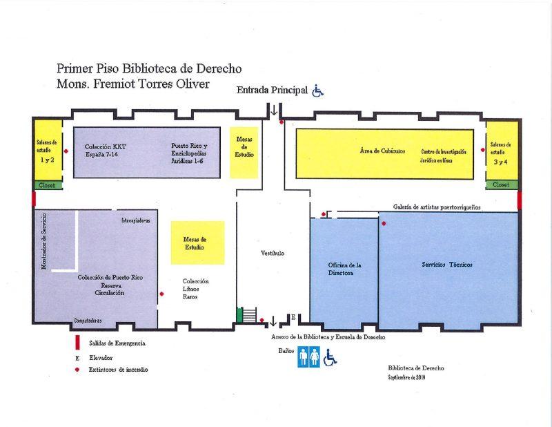 Plano del primer piso de la Biblioteca